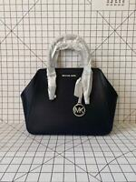 Michael Kors Charlotte Large Satchel Smooth Leather Crossbody Bag Black/Silver