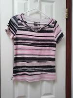 Women's Rafaella Size Small 4 6 Pink Gray Striped Cotton Stretch Knit Top Blouse
