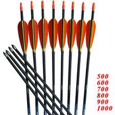 12PCS 30'' ID4.2 SP700 Archery Carbon Arrows 3'' Turkey Vanes Bow Hunting