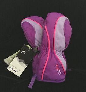 NEW HEAD Jr Insulated Ski Mittens BOY/GIRL (Black/Gray) & (Purple/Lavender/Pink)