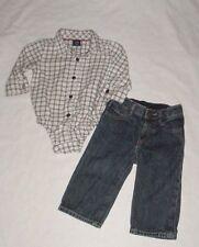 EUC Baby GAP SECRET GARDEN Brown & Green Plaid Shirt & Denim Jeans Set 6-12 M