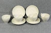 4 Vtg Johnson Brothers England Regency White Swirl Cup & Saucer Sets