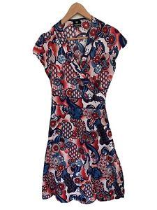 RASALEELA red navy white boho small S sleevless summer wrap midi oriental dress