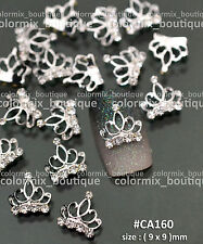 10pcs Gorgeous Design Nail Art Decorations Silver Crown Alloy Jewelry #CA160