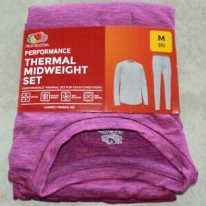 New Girls size Medium 8 Pink/Purple Performance Thermal Set Fruit of the Loom