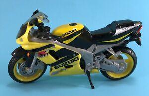 1:18 GSX R750 SUZUKI YELLOW & BLACK MOTORCYCLE DIECAST TOY MODEL SPORT BIKE