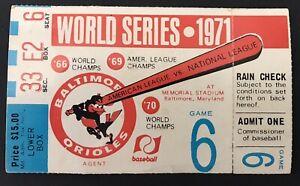 1971 World Series Ticket GM 6 Roberto Clemente MVP 1st WS HR /BA .414 Ex Pirates