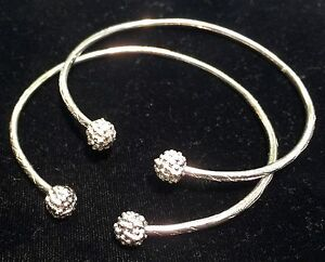 Pair Of Popcorn Ball Head Handmade Solid West Indian Sterling Silver Bangles