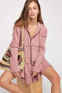 NEW Free People Tiered Trapeze Zip Up Hoodie Size Small