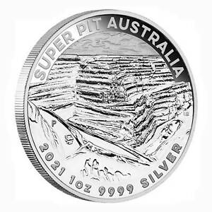 Australien $ 1 Silber Super Pit 1 oz .999 Silber 2021 in Münztasche