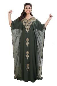 ARABIAN WEDDING GOWN MAXI DRESS HAUTE COUTRE DESIGNER FARASHA GANDOURA ROBE 7939