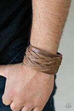 Urban Bracelet ~ Unisex Paparazzi 'No Mercy' Brown Leather