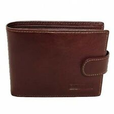 Brown / Tan Large Leather Wallet / Notecase With Fastener Branded Range