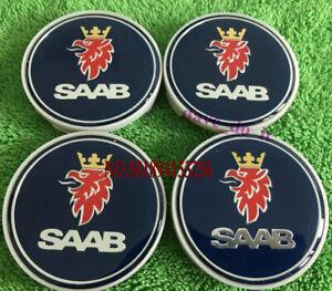 4 x BLUE 62mm 63mm SAAB ALLOY WHEEL CENTRE HUB CAPS 9-3 9-5 900 93 95