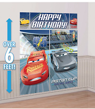 Disney Cars WALL BANNER DECORATING KIT (5pc) ~ Happy Birthday Party Supplies