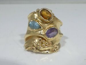 14K GOLD ARTISAN BRUTALIST RING WITH AMETHYST AND TOPAZ 4.6 DWT