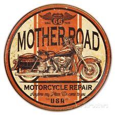 Metal Sign Route 66 Mother Road Motorcycle Repair (Diameter 30 cm)