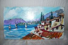 IMPRESSIONIST SMALL OIL PAINTING DEPICTING AN ITALIAN SEASIDE SCENE SIGNED