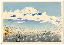 1940 Orig TOKURIKI TOMIKICHIRO Japanese Woodblock Print - Fuji from Autumn Field