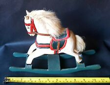 Vintage Antique Hand Crafted Carved Painted Wooden Miniature Toy Rocking Horse