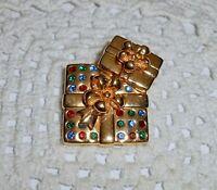 Vintage SWAN Signed Swarovski Christmas Present Crystal Brooch Pin Gold-tone  C3