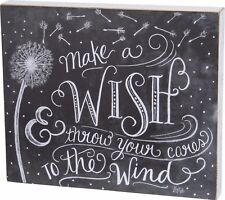 "NEW!~PRIMITIVE WOOD BOX SIGN~""MAKE A WISH & THROW YOUR CARES TO THE WIND""~Wishes"