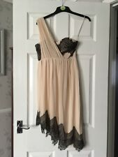 Jane Norman Chiffon/lace One Shoulder Dress Nude/black Size 8 Vgc