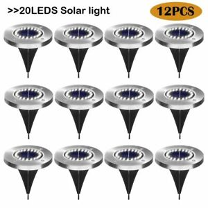 12Pack Solar Light Waterproof Garden Pathway Lights With 20 LEDs Lamp for Yard