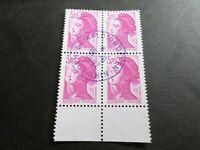 FRANCE BLOC timbres 2486 LIBERTE' DELACROIX, oblitéré 1987 cachet rond, QUARTINA