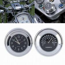 "1"" 7/8"" Motorcycle Handlebar Black Dial Clock Temp Thermometer For Harley Glide"