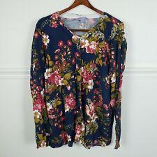 Laura Scott Button Front Cardigan Floral Sweater Navy Blue Plus Size 2X
