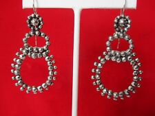 Pair of Antique 2 1/2-Inch  Cut-Steel Earrings With Sterling Silver Wires
