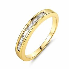 Unisex  Jewelry Prinecess Cut White Topaz Band Ring 18K Gold Filled Sz5-Sz9