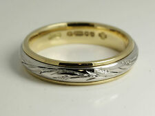 Ladies wedding band ring 4MM hand engraved, Hatton garden Hand made 9ct gold