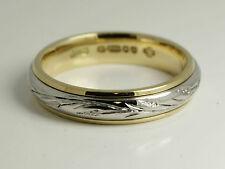 PLATINUM 950 & 18ct GOLD 4MM engraved Hatton garden Hand made WEDDING band RING