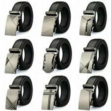 Fashion Mens Leather Ratchet Belt Metal Automatic Buckle Waistband Strap Waist