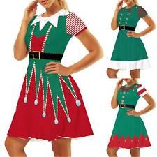 Women Ladies Short Sleeve Christmas Dress Ladies Girls Swing Xmas Casual Clothes