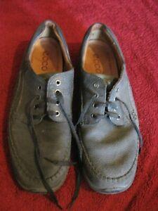 Ecco Light Shock Point Anti Fungal Men's Oxford Shoes Black Leather Size 46