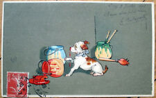 1908 Dog Postcard: Puppy Spilling Paint - Embossed, Color Litho