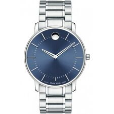 Movado 0606688 New Mens Stainless Steel Case Round Blue Sunray Dial Swiss Quartz