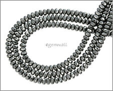 """15.5"""" Natural Hematite Rondelle Faceted Beads 4.5mm #85236"""