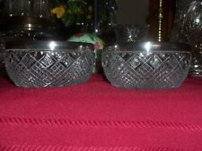 LOT OF 2 CUT GLASS RARE VINTAGE SILVER PLATE /SILVER RIM BOWLS