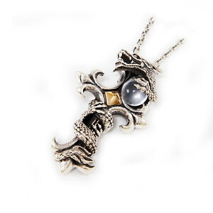 DRAGON PROTECTING CROSS 39GM 925 STERLING SILVER WHITE CRYSTAL PENDANT jo-040