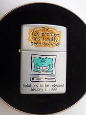 "ZIPPO RARE 1999 Y2K ""PROBLEM SOLVED"" NEW, UNFIRED, STICKERED PRESENTATION TIN"