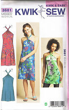 Halter Dress Tunic Top Scrunched Tube Neck Ties Sewing Pattern XS S M L XL