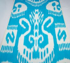 Cotton ikat fabric by the yards, upholstery fabric Blue fabric table runner ikat