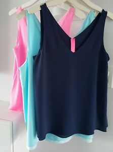 Lilly Pulitzer FLORIN Sleeveless V Neck Top Pink, Navy & Blue $88 NEW WITH TAGS