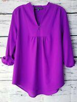 Stitch Fix Brixon Ivy Sylvester Split Neck Blouse Top Small S Magenta Purple