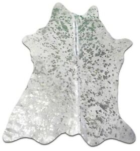 "Silver Metallic Cowhide Rug Calf Skin Size: 36""X 30"" Silver Calf Skin Mini Rug"