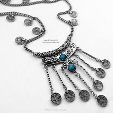 TURQUOISE STONES FREE SPIRIT GYPSY - BEACH ETHNIC TRIBAL COIN NECKLACE JEWELRY *